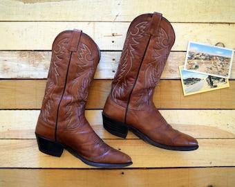 Vintage Men's 9 D DAN POST Copper Brown Leather Cowboy Boots Western