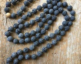 Mala, Prayer Beads, Lava Beads, Tibetan Prayer Necklace, Meditation, Energy Stone, Healing Stones, Diffuser Beads, Essential Oil Jewelry