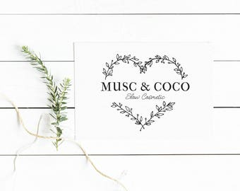 Heart Wreath logo, Heart logo, Heart logo design, Premade logo, Floral logo, Wreath logo, Natural logo, Photography logo, Florist logo