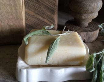 Lovely vintage ironstone soap dish and soap