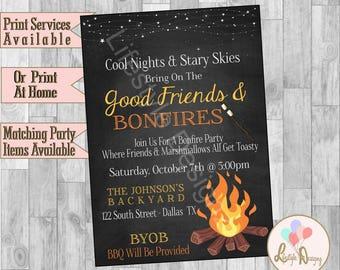 Bonfire Invitation - Backyard Bonfire Invitation - Bonfire Party - Smores - Backyard Cookout - Lets Get Toasted - Fall Party Invite