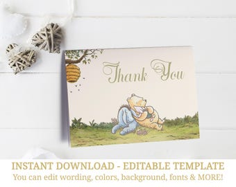 Winnie The Pooh Thank You Card, Baby Shower Thank You Cards, Thank You, Pooh Thank You, Classic Pooh, Winnie Thank You, INSTANT DOWNLOAD