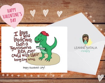 Dino Love Valentines Card, for her, for him, dinosaur valentines card, love, different