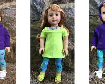 Fits American Girl dolls:  bright separates