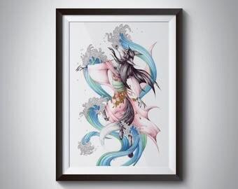 Original drawing - Dancing Kitsune