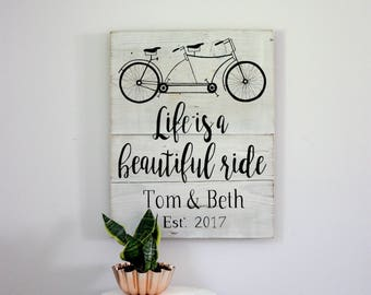 Life is a Beautiful Ride, Vintage Tandem Bike, Wedding Sign, Wedding Decor, Wedding Gift, Wedding, Wooden Sign, Custom Wooden Sign, Decor