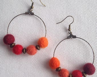 Bohemian chic earrings in orange red felted wool ball