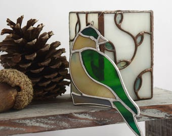 Glass Bird Sun Catcher, Stained Glass Bird Window Decor for Garden Lover Gift, Birdwatcher Gift Handcrafted in USA by Glass Blessings