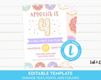 Doughnut 4th Birthday - Donut Fourth Birthday - Donut Party Invitations - Editable Birthday Invitation - Printable Invitation - Templett