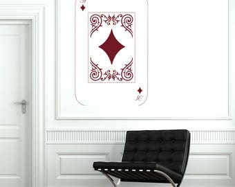 Wall Vinyl Decal  Playing Cards Deck Ace Poker Casino Decor  (#2685dn)
