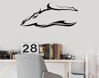 Swimmer Vinyl Wall Decal Wave Swim Swimming Pool Sports Art Stickers Mural (#2684di)