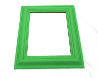 "Antibes Green Mirror, Hand Painted, Vintage Solid Pine, Bevelled Glass, Waxed Lacquered Chalk Paint, Rectangular, 16.75"" x 14.5"" x 1.5"""