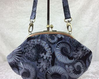 Ammonite Fossil Grace handbag purse bag clutch fabric handmade in England