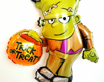 "Huge 36"" Frank trick or treater balloon. Halloween balloons. Halloween party supply. trick or treat sign. pumpkin balloon. Halloween party"