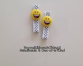 Happy Face |  Hair Clips for Girls | Toddler Barrette | Kids Hair Accessories | Grosgrain Ribbon | No Slip Grip | Emoji