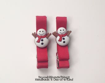 Snowman Red Scarf | Hair Clips for Girls | Toddler Barrette | Kids Hair Accessories | Red Grosgrain Ribbon | No Slip Grip | Winter