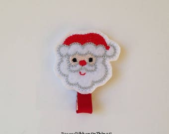 Santa | Hair Clip for Girls | Toddler Barrette | Baby | Kids Hair Accessories | Red Grosgrain Ribbon | Felties | No Slip Grip | Christmas