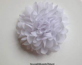 "Peony Chiffon Flower 4.5"" | White | Hair Clips for Girls | Toddler Barrette | Kids Hair Accessories | Grosgrain Ribbon | No Slip Grip"