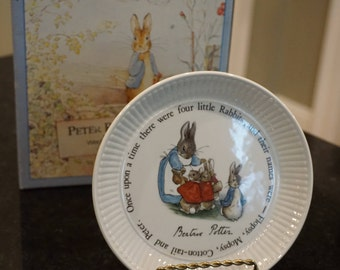 1992 Wedgwood Peter Rabbit Plate/Once Upon A Time There Were 4 Little Rabbits.../ Beatrix Potter/ Original Box/ Nursery Decor/ Baby Gift
