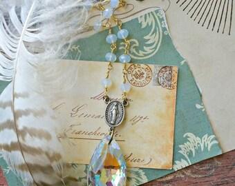 Crystal Chandelier Prism Rosary Necklace, Beaded, Repurposed Vintage, Kaleidoscope, Upcycled, Aurora Borealis, Fab Flea Market