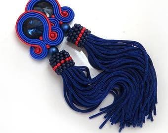 Oscar de la Renta style Earrings Beaded Tassel Earrings blue Tassel Clip-on Earrings Oscar tassel earrings soutache tassel earrings Handmade