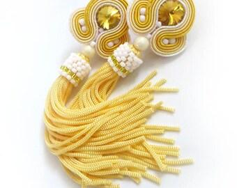 Soutache earrings tassel earrings yellow earrings beaded dangle earrings bridal earrings  statement earrings long earrings fringe earrings