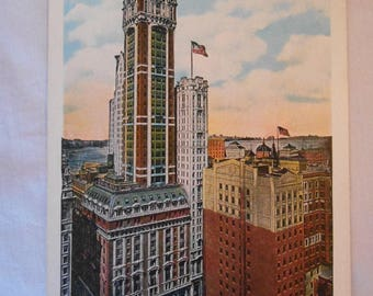 Postcard SINGER BUILDING and Part of the Financial District New York City 1920s Very Good+ Condition