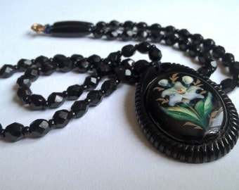 Antique Victorian Whitby Jet Mourning Necklace With Hand Painted Lily Pendant, c.1880s
