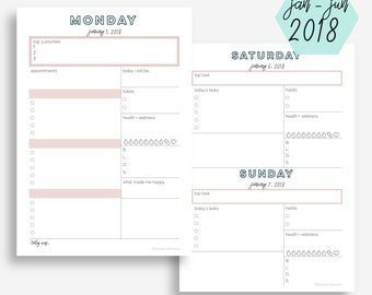The Daily Planner   January - June 2018   A5 Size   Day Planner   Printable Planner   Goal Planner   Eowyn Collection