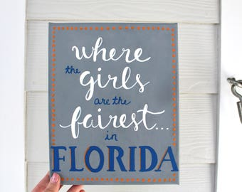 """University of Florida Canvas Painting (""""We Are the Boys from Old Florida"""")"""