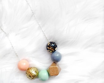 Sequin Wood Bead Necklace