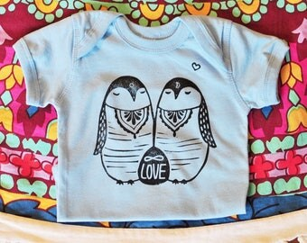 Penguine bodysuit, Light Blue onepiece,  Bohemian baby boy or girl, hipster baby, Baby reveal outfit, Sun and Moon onepiece, New baby gift