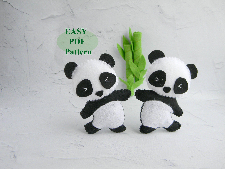 Panda Felt Ornament Pdf Pattern Felt Panda Bear Sewing Pattern