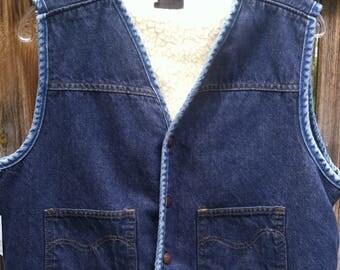 Vintage Sears Roebucks Jean Vest - Size Large