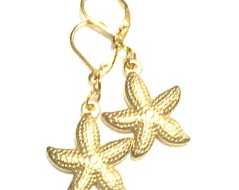 Starfish Drop Earrings, Gold Starfish Earrings, On Trend Earrings, Unique style Gift,Gold Earrings, Appreciation gift, Free Local Shipping