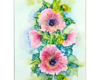 SALE, Hollyhock Watercolor, Hollyhock Painting, Original Watercolor, Size 11x14 with Mat Included, Home Decor, Gift, Floral Watercolor