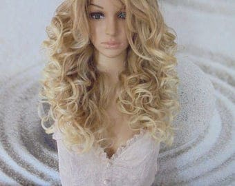 Human hair blend honey /ash blond mixed with 613 Blonde Lace Front Wig curly