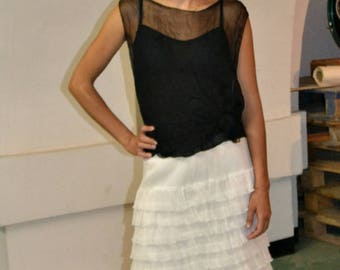 Ivory Silk-chiffon Ruffle Knee Length Summer Skirt