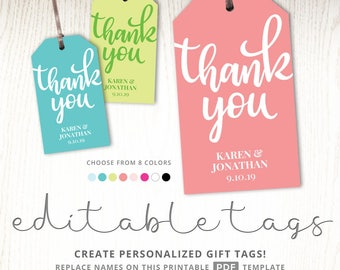 Thank you gift tag template, tags printable, party favor tags, teacher, tea party, graduation, coral blush pink teal blue weddings, DIGITAL