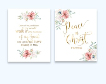 Mutual Theme 2018 LDS Young Women Theme 2018  new beginnings sign Scripture art  Peace in Christ Gold Christian gift   idb246