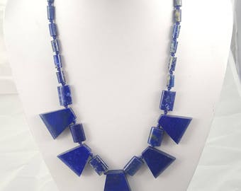 Very good quality lapis necklace, lapis lazuli necklace, Statement necklace, round necklace, unique gift, one of a kind