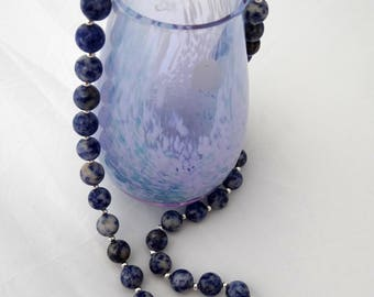 Blue Spot Agate and Silver Necklace