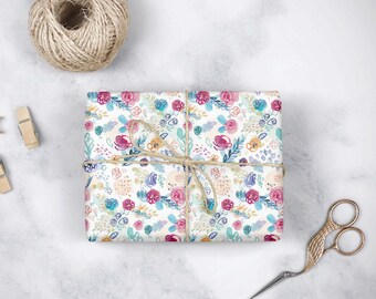 Gift Wrap - Floral Pattern - Watercolor Illustration - Wrapping Paper