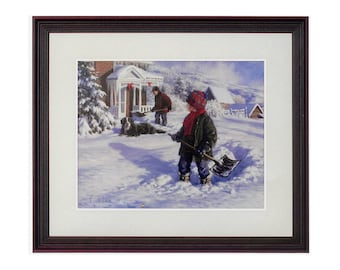 Shoveling Out by Robert Duncan, Fine Art Print, Framed & Matted, Kid Shoveling Snow House Driveway, Winter Art, Snow Scene, Christmas