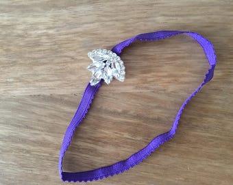 Baby Headband with Rhinestone Embellishment. Purple