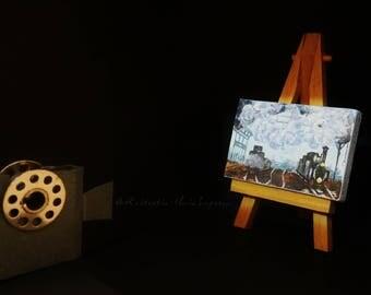 Mini easel canvases Monet, train, railroad, original, hand-painted acrylic on canvas 5 x 7 cm