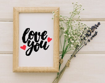 Love You cross stitch pattern, Cross stitch modern, pdf, instant download #40