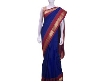 KarigarStreet  Art Silk Sari with Temple Border with Blouse(Unstitched)-Royal Blue