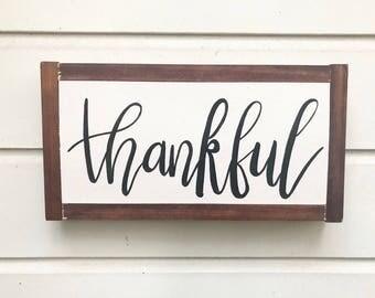 Thankful Framed Wooden Sign