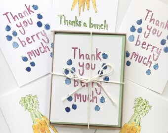 thank you card set, foodie stocking stuffers, food pun cards, funny note cards, watercolor greeting cards, pun note cards, food paper goods